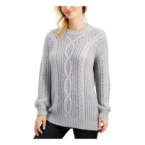 wynter Womens Gray Long Sleeve Crew Neck Sweater Size S