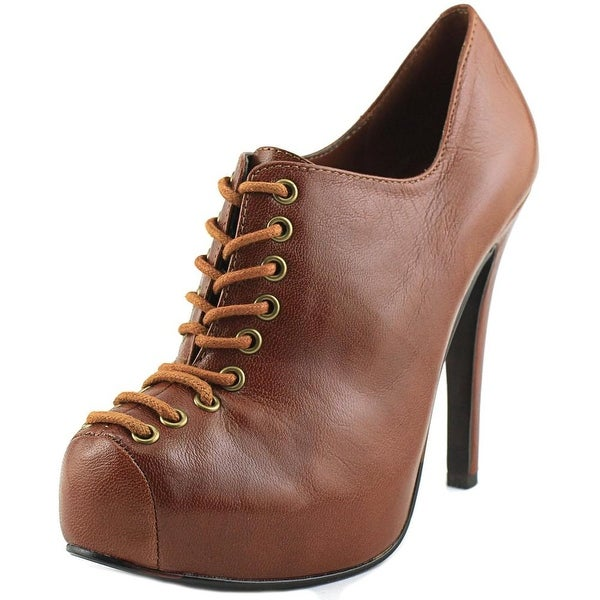 Chinese Laundry Chase After Women Round Toe Leather Brown Bootie
