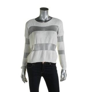 Suncoo Womens Penelope Pullover Sweater Metallic Striped