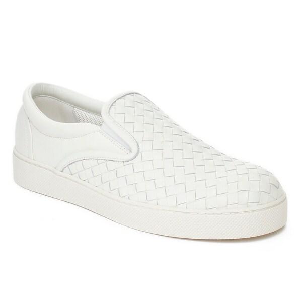 20204f6451d1 Bottega Veneta Men  x27 s Intrecciato Leather Slip-on Sneaker Shoes White
