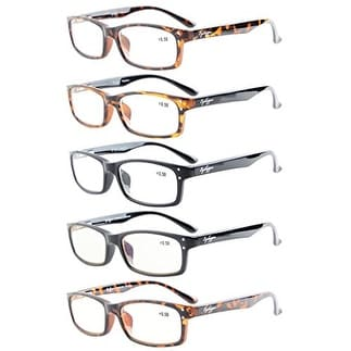 Eyekepper 5-Pack Rectangular Frame Spring-Hinges Quality Reading Glasses +0.5