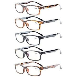 Eyekepper 5-Pack Rectangular Frame Spring-Hinges Quality Reading Glasses +2.25