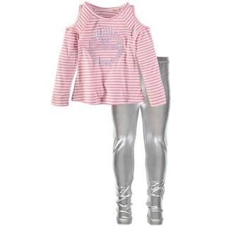 Kidtopia Girls 4-6X Stripe Top Metallic Legging Set