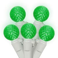 Set of 50 Green LED G12 Berry Fashion Glow Christmas Lights - White Wire