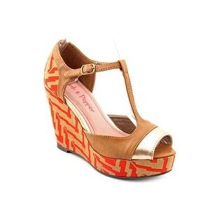 Pink & Pepper Fabiola Women Open Toe Synthetic Brown Wedge Sandal