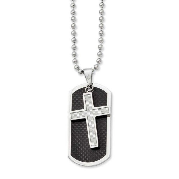 Stainless Steel Carbon Fiber Cross & Dogtag Pendant 24in Necklace (2 mm) - 24 in