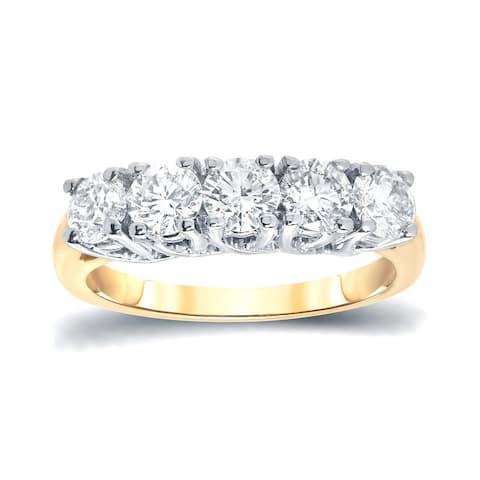 Auriya 14k Gold 5-Stone Moissanite Ring 1 1/2ct DEW