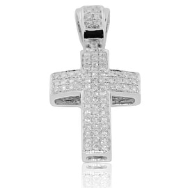10K White Gold Small Cross Pendant Charm 30mm Tall With 0.60cttw Diamonds (i2/i3, i/j) By MidwestJewellery