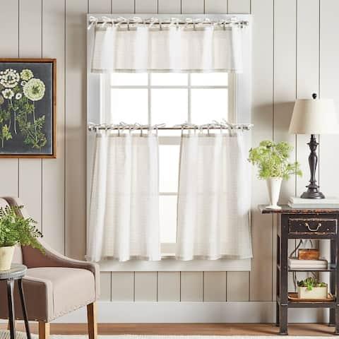 Martha Stewart Plaid Tie Top Curtain Tier and Valance Set