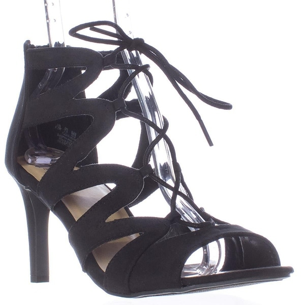 Fergalicious Heartthrobe Strappy Lace Up Sandals, Black