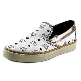 MCM 5S2I11 Women Round Toe Leather White Fashion Sneakers
