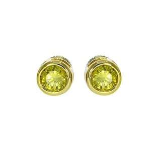 Brand New Round Brilliant Cut Bezel Set Yellow Diamond Screw Back Stud Earring