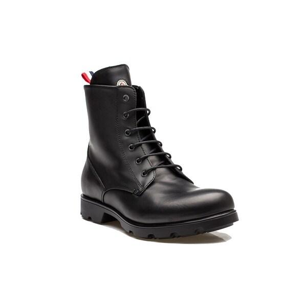 589183145c39 Shop Moncler Vancouver Men s Leather Lace Up Combat Boot Shoes All ...