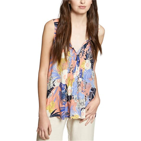 Sanctuary Clothing Womens Floral Pleated Pullover Blouse