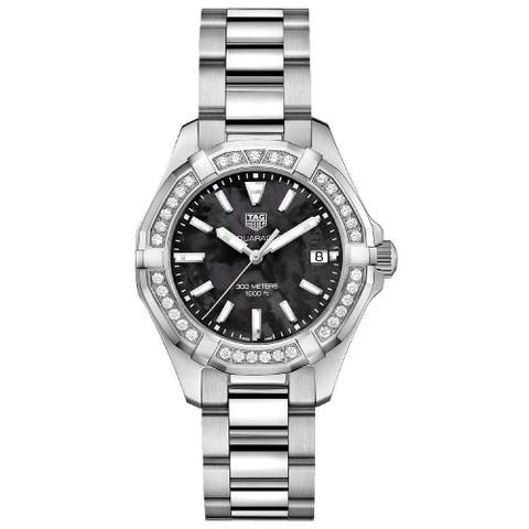Tag Heuer Women's WAY131P.BA0748 'Aquaracer' Diamond Stainless Steel Watch - Black