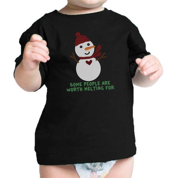 Worth Melting For Snowman Cute Baby Graphic T-Shirt Black Baby Gift