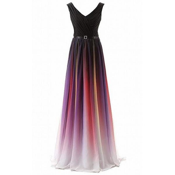 8b29adb748 Belle House Black Purple White Women's Size 22 Belted Gown Ombre Dress-