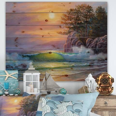 Designart 'Idyllic Bay With Summer Beach By The Trees III' Nautical & Coastal Print on Natural Pine Wood