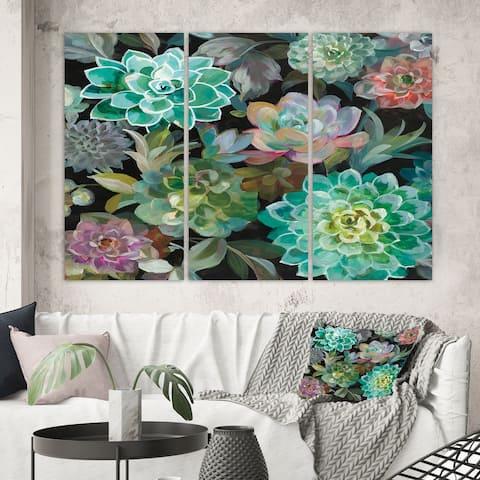 Designart 'Floral Succulents' Traditional Canvas Artwork