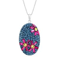 Flower Pendant with Swarovski Crystal in Sterling Silver
