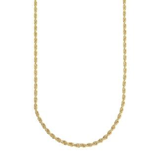 Mcs Jewelry Inc  14 KARAT YELLOW GOLD SOLID DIAMOND CUT ROPE CHAIN NECKLACE (2MM)