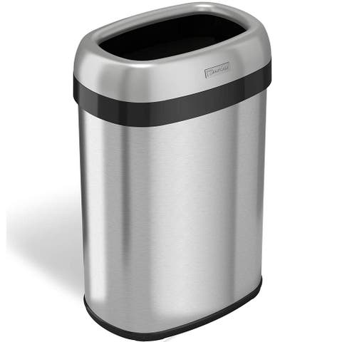iTouchless 13 Gal. Oval Open Top Stainless Steel Trash Can