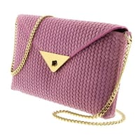 HS1181 RA TIA Pink Leather Clutch/Shoulder Bag - 10-6.5-1.5