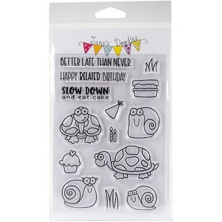 """Jane's Doodles Clear Stamps 4""""X6""""-Belated Birthday"""