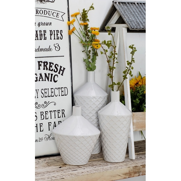 Porch & Den Damen 3-piece Contemporary Porcelain Tapered Cylindrical Vase Set. Opens flyout.
