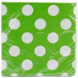 "Beverage Napkins 5""X5"" 16/Pkg-Lime Green Decorative Dots"
