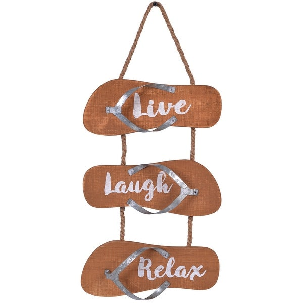 "19.25"" Brown ""Live"", ""Laugh"" and ""Relax"" Printed Wall Decor with Rope - N/A"