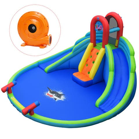 Inflatable Water Slide Bounce House with Mighty Splash Pool - Multi