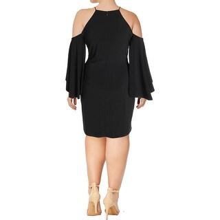 Lauren Ralph Lauren Womens Cocktail Dress Exposed Shoulders Bell Sleeves