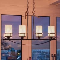 """Luxury Rustic Chandelier, 18.5""""H x 32.5""""W, with Craftsman Style, Banded Wrought Iron Design, Forged Iron Finish"""