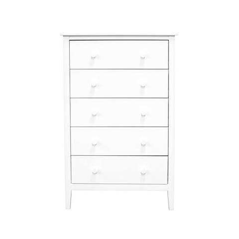 Adeptus Solid Wood Easy Pieces 5 Drawer Chest of Drawers - White