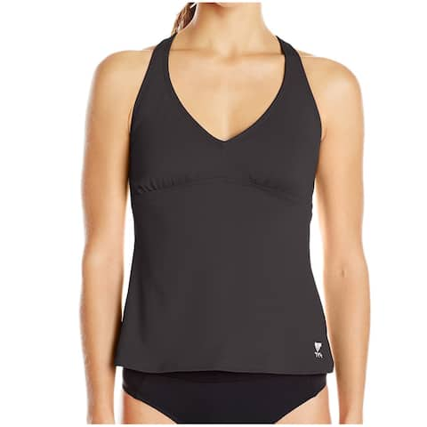 TYR Jet Black Womens Size 12 Twist V-Neck Tankini Top Swimwear