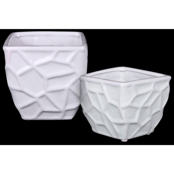 Ceramic Square Vase with Embossed Irregular Design, Set Of 2, White