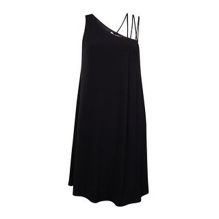 BCBGeneration Women's Asymmetrical Strap Jersey Shift Dress - Black