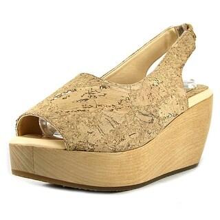 Sydney Brown Sandal Low    Open Toe Canvas  Wedge Sandal