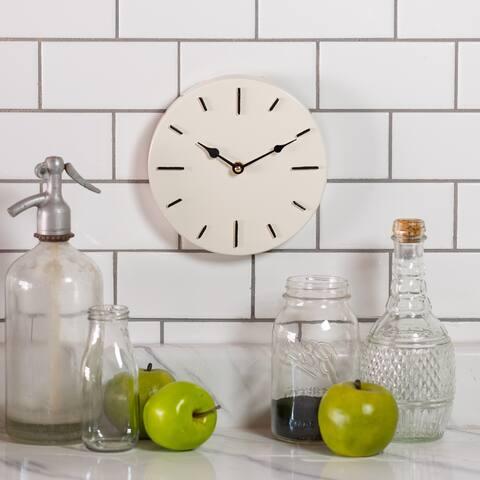 8 inch-Metal Wall Clock, White - 8 x 8 x 1