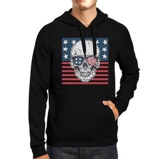 Skull American Flag Unisex Black Hoodie Round Neck Pullover Fleece