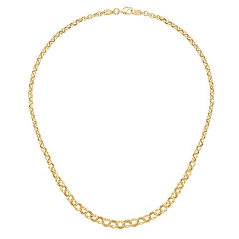 """Forever Last 10 K Gold Bonded over Silver 17""""Graduated Rolo Necklace"""