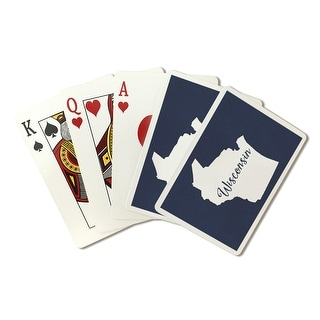 WI - Home State - White on Navy - LP Artwork (Poker Playing Cards Deck)