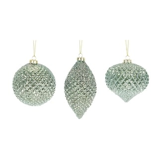 """Link to Pack of 12 Shimmering Green Lattice Glass Christmas Ornaments 5.5"""" Similar Items in Christmas Decorations"""