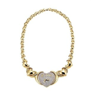 "Womens 10k Gold Tone Hugs & Kisses XOXO Link Style Necklace 20"" Inch Gorgeous - Yellow"
