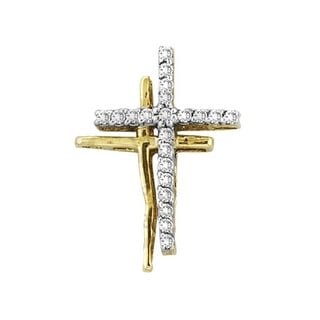 Twin Cross Pendant 10k Yellow Gold With Diamonds 0.25 By MidwestJewellery - White