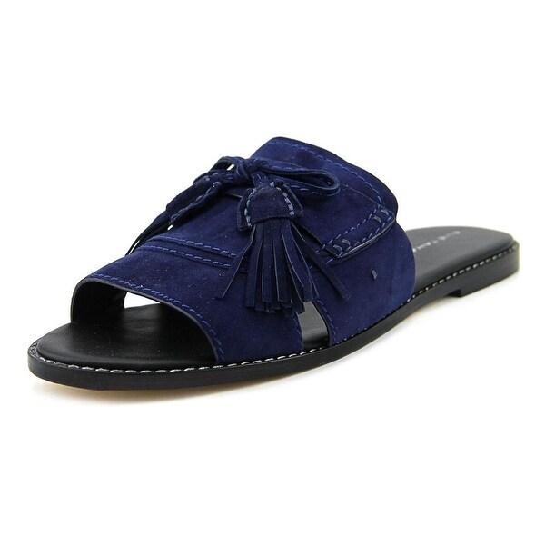 Elie Tahari Solstice Women Open Toe Leather Blue Slides Sandal