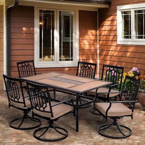 "PHI VILLA Patio Dining Set of 7, 1 Rectangle 60""x 37"" Large Umbrella Table, 6 Swivel Chairs Furniture Set"