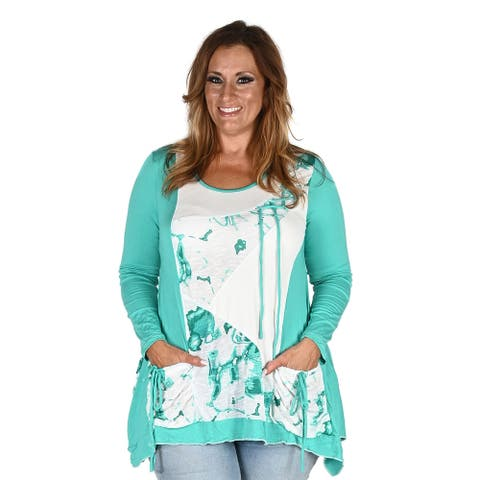KAKTUS Turquoise Long Sleeve Abstract Blouse with Front Pockets - Size