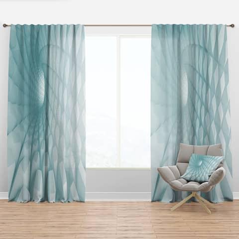 Designart '3D Light Blue Geometric Tunnel' Modern Curtain Panel
